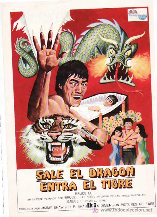GUIA DE LA PELICULA, SALE EL DRAGON, ENTRA EL TIGRE (Cine - Guías Publicitarias de Películas )