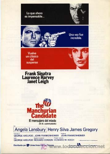 EL MENSAJERO DEL MIEDO GUIA PUBLICITARIA ORIGINAL FRANK SINATRA LAWRENCE HARVEY JANET LEIGH (Cine - Guías Publicitarias de Películas )