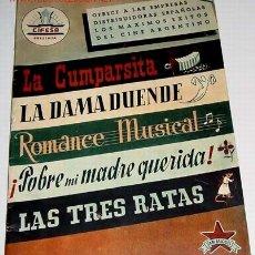 Cine: LA COMPARSITA, LA DAMA SUENDE, ROMANCE MUSICAL, POBRE MI MADRE QUERIDA, LAS TRES RATAS - GUIA DE ES. Lote 13995928