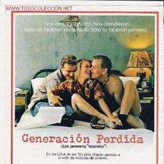 Cine: GENERACION PERDIDA, GUIA ORIGINAL SENCILLA, PAPEL. Lote 27132237