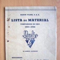 Cine: LISTA DE MATERIAL RADIO FILMS TEMPORADA DE ORO 1935-1936 CON 32 HOJAS MAS PORTADAS. MUY BUENO. Lote 27264126