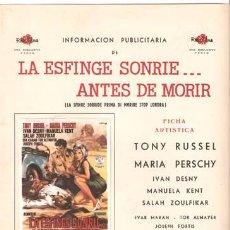 Cine: G2134 LA ESFINGE SONRIE ANTES DE MORIR TONY RUSSEL MARIA PERSCHY GUIA ORIGINAL ROSA ESTRENO. Lote 9839437
