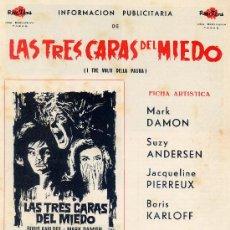 Cine: LAS TRES CARAS DEL MIEDO (GUIA ORIGINAL DOBLE) OBRA MAESTRA DEL MAESTRO DEL TERROR MARIO BAVA. Lote 54620905
