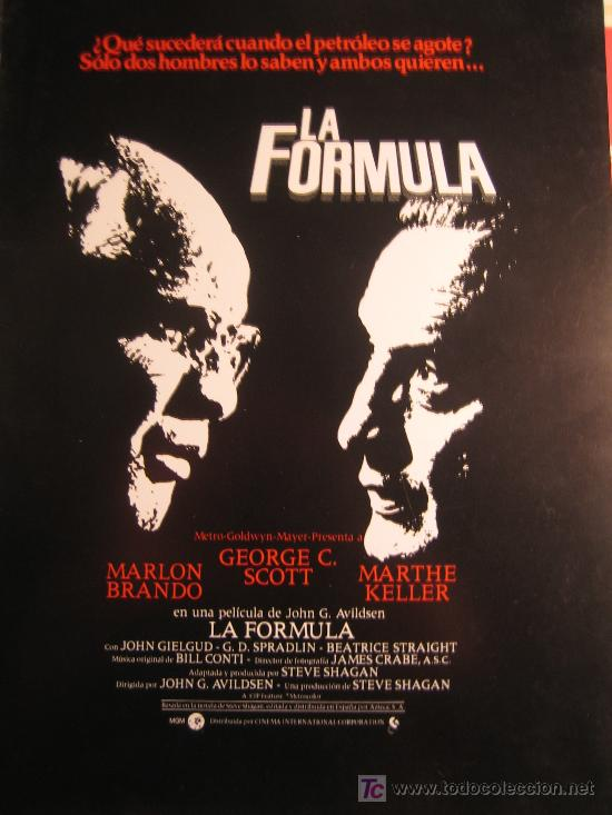 GUIA PUBLICITARIA - LA FORMULA - MARLON BRANDO (Cine - Guías Publicitarias de Películas )