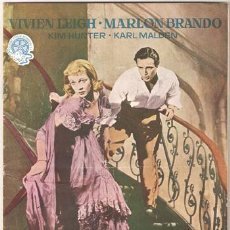 Cine: G3274 UN TRANVIA LLAMADO DESEO MARLON BRANDO VIVIEN LEIGH ELIA KAZAN GUIA ORIGINAL FLORALVA ESTRENO. Lote 13791917