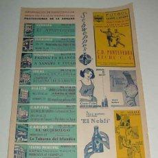 Cine: ANTIGUO CARTEL DE PAPEL DE INFORMACION DE ESPECTACULOS - ALICANTE - AÑO 1964 - FUTBOL CAMPO DE ALTAB. Lote 27488701