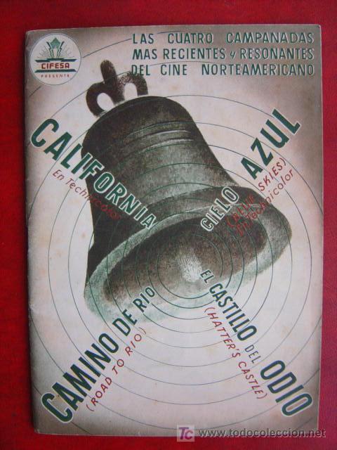 ANTIGUA GUIA CIFESA - 4 PELICULAS - CALIFORNIA, CIELO AZUL, CAMINO DE RIO, EL CASTILLO DEL ODIO (Cine - Guías Publicitarias de Películas )