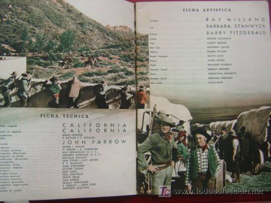 Cine: ANTIGUA GUIA CIFESA - 4 PELICULAS - CALIFORNIA, CIELO AZUL, CAMINO DE RIO, EL CASTILLO DEL ODIO - Foto 3 - 27228153
