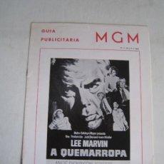 Cine: A QUEMARROPA - ANGIE DICKINSON - LEE MARVIN - GUIA PUBLICITARIA ORIGINAL DEL ESTRENO. Lote 15745685