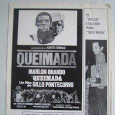 Cine: QUEIMADA - MARLON BRANDO - GUIA PUBLICITARIA ORIGINAL DEL ESTRENO. Lote 16163917