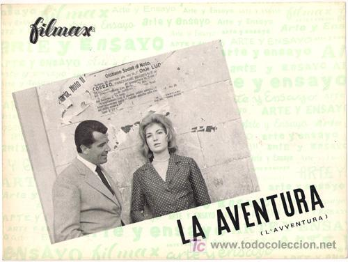 G3567 LA AVENTURA ANTONIONI MONICA VITTI GUIA ORIGINAL FILMAX ESTRENO (Cine - Guías Publicitarias de Películas )