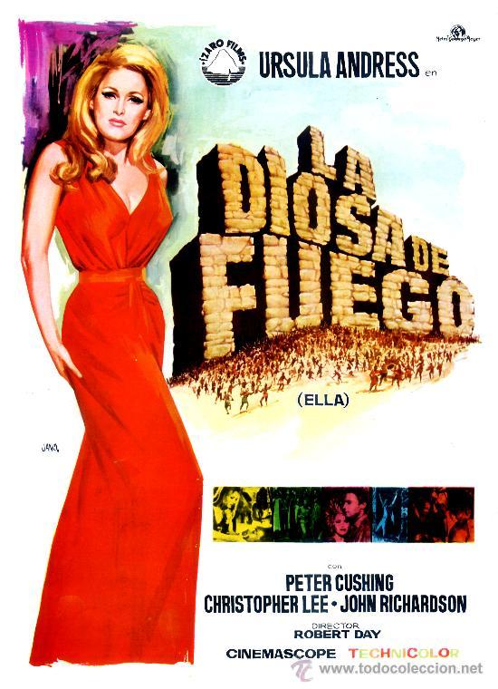 LA DIOSA DEL FUEGO (GUIA ORIGINAL ESTRENO ESPAÑA CON FOTOS) URSULA ANDRESS-PETER CUSHING (Cine - Guías Publicitarias de Películas )