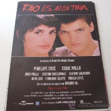 Cine: TODO ES MENTIRA - PENELOPE CRUZ, COQUE MALLA, JORDI MOLLA - GUIA ORIGINAL COLUMBIA AÑO 1994. Lote 96866991