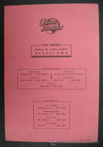 Cine: UNIVERSAL INTERNATIONAL. PRESENTACIÓN 1955 - 1956. SOLO EL CIELO LO SABE, REGRESO DEL INFIERNO,..... - Foto 7 - 22826667