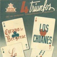 Cine: 4 TRIUNFOS DE LA MODERNA CINEMATOGRAFÍA FRANCESA .. CIRANO DE BERGERAR, LOS CHUANES. Lote 22820002