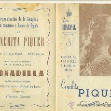 Cine: CONCHITA PIQUER - GUIA CANCIONERO 4 PGS TEATRO PRINCIPAL . Lote 26869654