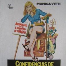 Cine: GUIA PUBLICITARIA ORIGINAL - CONFIDENCIAS DE UNA ESPOSA ALEGRE MONICA VITTI - NO ENTRA EN LOTES. Lote 25651374