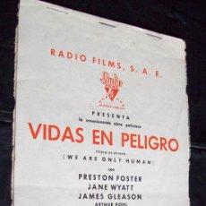 Cine: GUIA MATERIAL TEMPORADA 1936 -37 RADIO FILMS - VIDAS EN PELIGRO. Lote 26342734