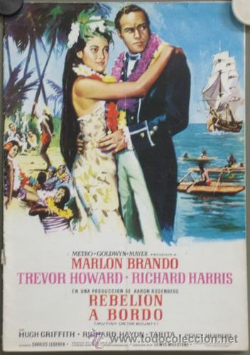 G3774 REBELION A BORDO MARLON BRANDO LEWIS MILESTONE GUIA ORIGINAL MGM ESTRENO (Cine - Guías Publicitarias de Películas )