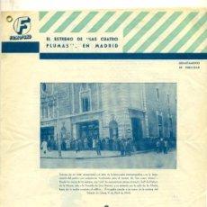 Cine: FILMOFONO - GUIA DOS HOJAS CON LAS CRITICAS DE LAS CUATRO PLUMAS 1944. Lote 27710687