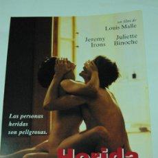Cine: HERIDA - JULIETTE BINOCHE - JEREMY IRONS - LOUIS MALLE - GUIA ORIGINAL - LOTE 20 GUIAS POR 30 EUROS. Lote 28315331
