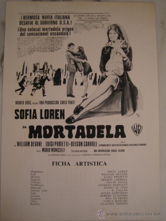 MORTADELA SOFIA LOREN - GUIA PUBLICITARIA ORIGINAL ESTRENO (Cine - Guías Publicitarias de Películas )