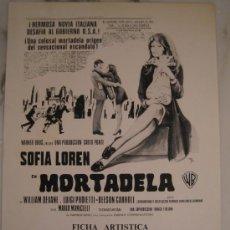Cine: MORTADELA SOFIA LOREN - GUIA PUBLICITARIA ORIGINAL ESTRENO. Lote 29616501