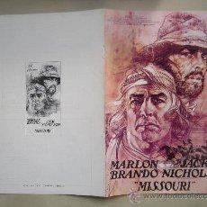 Cine: MISSOURI MARLON BRANDO NICHOLSON - GUIA PUBLICITARIA ORIGINAL DEL ESTRENO NO ENTRA EN LOTES. Lote 29773535