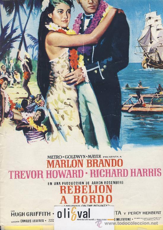 GUIA DE CINE TAMAÑO 320 X 225 10 H DOBLE CARA -PORTADA COLOR- REBELION A BORDO .MARLON BRANDO (Cine - Guías Publicitarias de Películas )