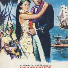 Cine: GUIA DE CINE TAMAÑO 320 X 225 10 H DOBLE CARA -PORTADA COLOR- REBELION A BORDO .MARLON BRANDO. Lote 30018860