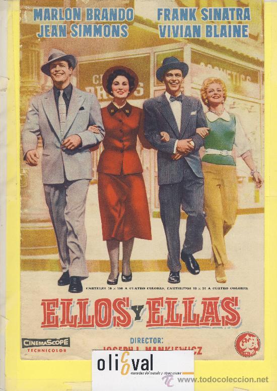 GUIA DE CINE TAMAÑO 275 X 185 2 H DOBLE CARA -ELLOS Y ELLAS -MARLON BRANDO-FRANK SINATRA (Cine - Guías Publicitarias de Películas )