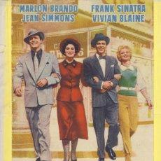 Cine: GUIA DE CINE TAMAÑO 275 X 185 2 H DOBLE CARA -ELLOS Y ELLAS -MARLON BRANDO-FRANK SINATRA . Lote 30019277