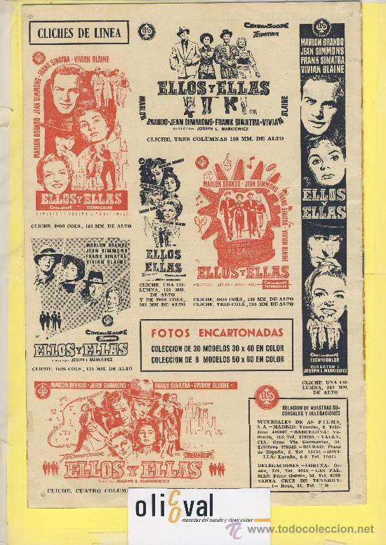 Cine: Guia de cine tamaño 275 x 185 2 h doble cara -ellos y ellas -marlon brando-Frank sinatra - Foto 2 - 30019277
