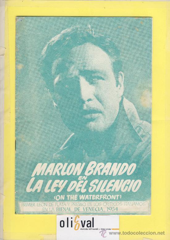 GUIA DE CINE TAMAÑO 245 X 170 8 H DOBLE CARA -LA LEY DEL SILENCIO-MARLON BRANDO-1ª VENECIA 1954 (Cine - Guías Publicitarias de Películas )