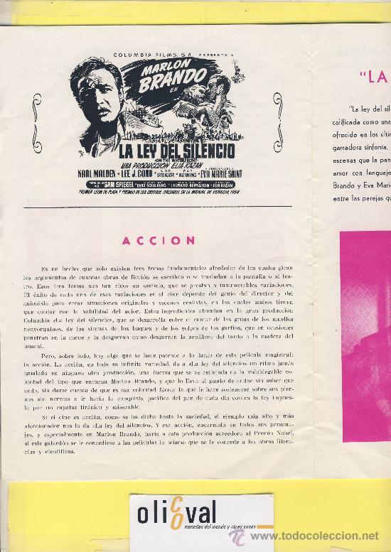 Cine: Guia de cine tamaño 245 x 170 8 h doble cara -La ley del silencio-marlon brando-1ª Venecia 1954 - Foto 2 - 30019507