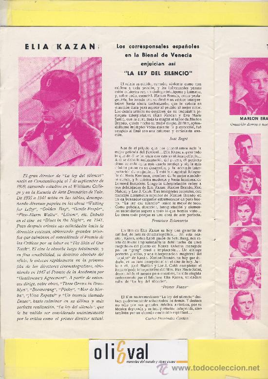 Cine: Guia de cine tamaño 245 x 170 8 h doble cara -La ley del silencio-marlon brando-1ª Venecia 1954 - Foto 3 - 30019507