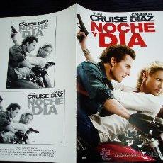 Cine: NOCHE Y DIA. GUIA PUBLICITARIA DOBLE. ORIGINAL. NUEVO.. Lote 146023346