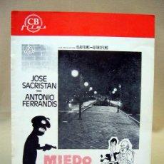 Cine: CINE, GUIA PUBLICITARIA, JOSE SACRISTAN ANTONIO FERRANDIS, MIEDO AL SALIR DE NOCHE, ALFARO FILMS. Lote 30900341
