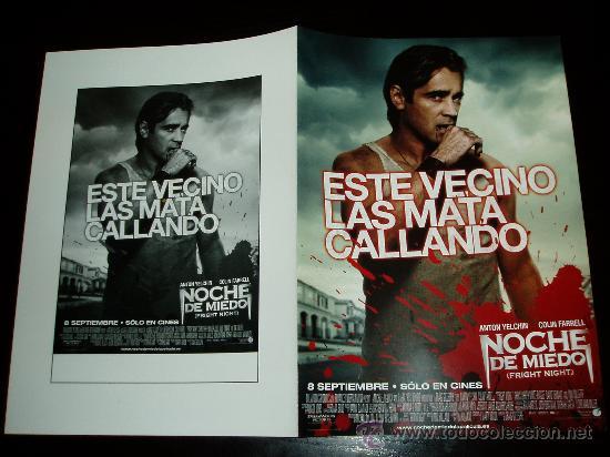 NOCHE DE MIEDO. GUIA PUBLICITARIA DOBLE ORIGINAL DE LA PELICULA. (Cine - Guías Publicitarias de Películas )