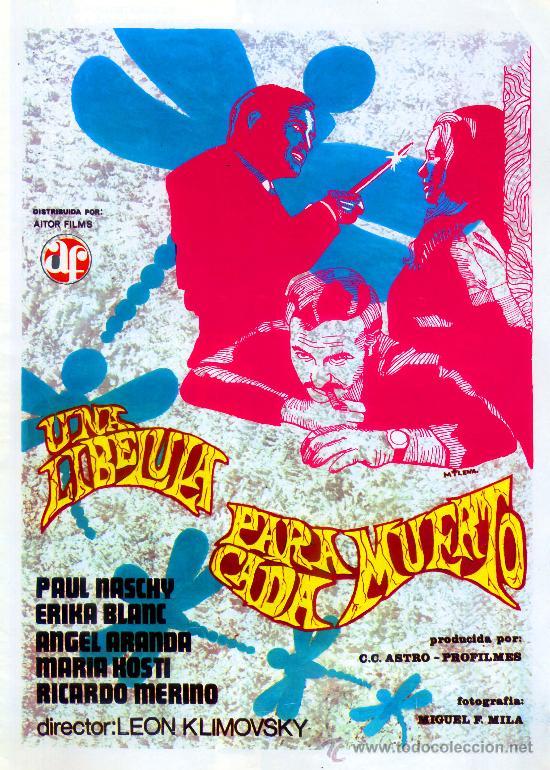UNA LIBELULA PARA CADA MUERTO 1974 (GUIA ORIGINAL 4 PAGINAS CON FOTOS) GIALLO DE CULTO PAUL NASCHY (Cine - Guías Publicitarias de Películas )