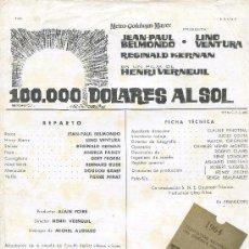 Cine: GUIA PUBLICITARIA PELICULA 100.000 DOLARES AL SOL. Lote 32124943