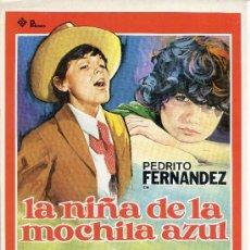 Cine: GUIA PUBLICITARIA PELICULA LA NIÑA DE LA MOCHILA AZUL. Lote 32140284