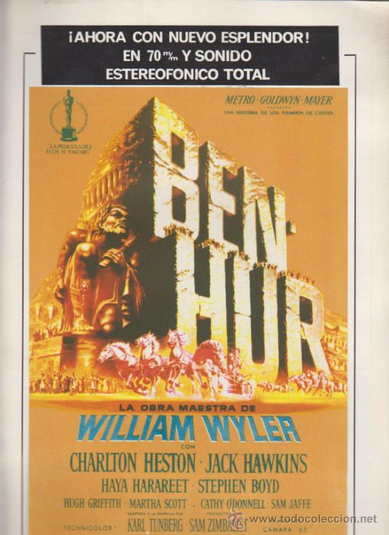 BEN HUR. GUÍA DE MGM. (8 PÁGINAS). EL PROGRAMA (25,5X17,5) ESTÁ IMPECABLE Y PEGA- (Cine - Guías Publicitarias de Películas )