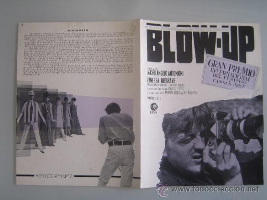 BLOW UP MICHELANGELO ANTONIONI - GUIA PUBLICITARIA ORIGINAL ESTRENO NO ENTRA EN LOTES (Cine - Guías Publicitarias de Películas )