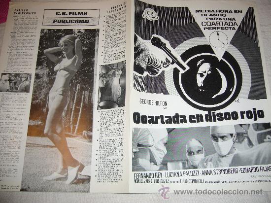 COARTADA EN DISCO ROJO GIALLO GEORGE HILTON GUIA ORIGINAL (Cine - Guías Publicitarias de Películas )