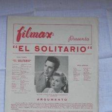 Cine: GUIA PUBLICITARIA - EL SOLITARIO - FILMAX. Lote 34107204