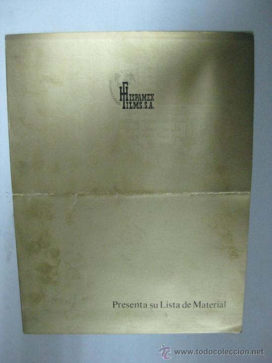 HISPAMEX FILMS S.A. - LISTA DE MATERIAL - TEMPORADA 1974-1975 (Cine - Guías Publicitarias de Películas )