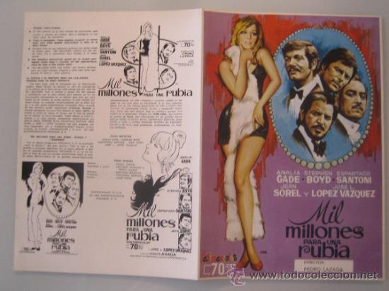 MIL MILLONES PARA UNA RUBIA ANALIA GADE ESPARTACO SANTONI - GUIA PUBLICITARIA ORIGINAL ESTRENO (Cine - Guías Publicitarias de Películas )