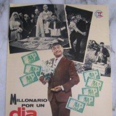 Cine: MILLONARIO POR UN DIA GRACITA MORALES - GUIA PUBLICITARIA ORIGINAL ESTRENO . Lote 34910848