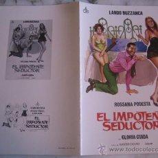 Cine: EL IMPOTENTE SEDUCTOR LANDO BUZZANCA GLORIA GUIDA - GUIA PUBLICITARIA ORIGINAL ESTRENO. Lote 34991478